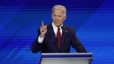 Former US vice-president Joe Biden responds to a question during a Democratic presidential primary debate hosted by ABC at Texas Southern University in Houston.