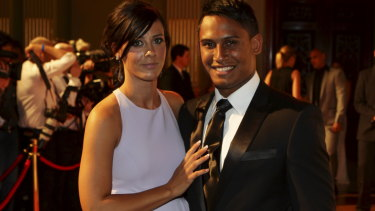 Alleged assault: Ben Barba with partner Ainslie Currie at the 2012 Dally M awards.