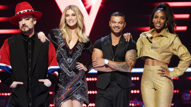 The Voice coaches (L-R) Boy George, Delta Goodrem, Guy Sebastian and Kelly Rowland.