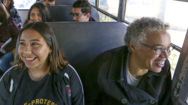 Chicago mayoral candidate Toni Preckwinkle takes a bus tour of Chicago with Brighton Park residents during a day of campaigning in Chicago.