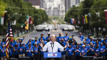 Democratic presidential candidate, former Vice President Joe Biden rallies the crowd at Eakins Oval in Philadelphia.