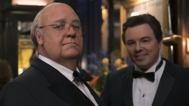 "Russell Crowe, pictured left with Seth Macfarlane, is ""masterful"" as Roger Ailes in The Loudest Voice."