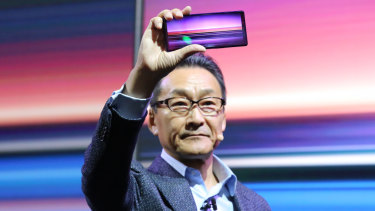 Global Sony Mobile president Mitsuya Kishida holds the new Xperia 1. Like the last two Xperia flagships, it will not make it to Australia.