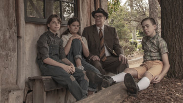 From left, Jamie Boyd as Jem, Jade Breen as Scout, Michael Sparks as Atticus and Jake Keen as Dill in <i>To Kill A Mockingbird</i>.