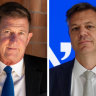 Former Seven West Media chief executive Tim Worner and new network boss James Warburton.