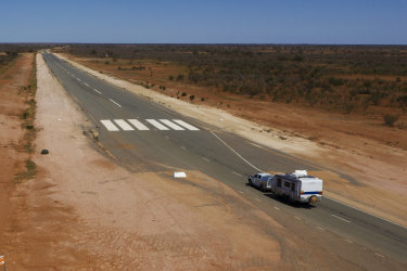 A sealed section of the Silver City Highway north of Broken Hill doubles as an airstrip for the Royal Flying Doctor Service (RFDS). Photographed Tuesday 22nd September 2020. Photgraph by James Brickwood. SMH NEWS 200922