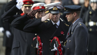 Prince William lays a wreath during the Remembrance Day service in Whitehall, London on Sunday.