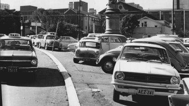 Parked cars crammed into Victoria Square,  May 21, 1969.