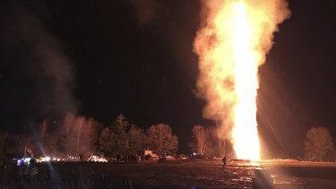A bonfire burns in Lustenau, Austria.