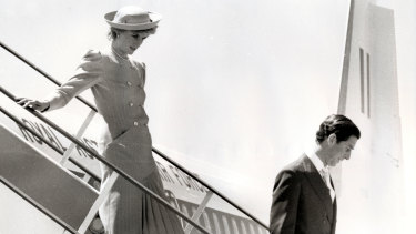 The royal couple arrives at Tullamarine Airport in 1985.