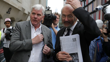 Editor-in-chief of WikiLeaks, Kristinn Hrafnsson from Iceland, left, and father of Julian Assange, John Shipton, speak to the media in London.