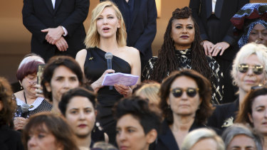 Cate Blanchett leads a protest at Cannes.