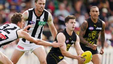 Bouncing back: Jack Higgins made a welcome return for Richmond in his first game since undergoing brain surgery.