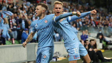 City teammates Nathaniel Atkinson and Scott Galloway were hugely influential in their club's maiden championship win.