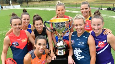 AFLW players ahead of a season launch two years ago.