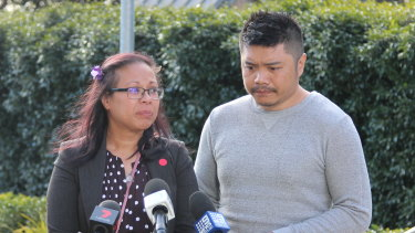 Mitch and Marie Cruz outside the NSW Coroners Court on Monday.