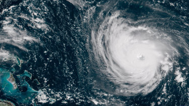 Hurricane Florence in the Atlantic Ocean as it threatens the US East Coast.