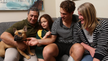 Kalyn Ponga with his family in Charlestown, including father Andre, when he was a rising star back in 2018.