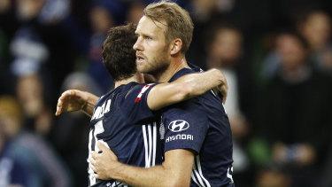 Ola Toivonen celebrates a finals goal.