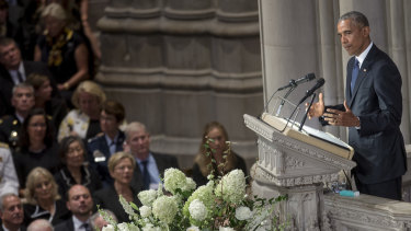 Former US president Barack Obama speaks during a memorial service for late Senator John McCain at Washington National Cathedral in Washington, D.C.,  on Saturday.