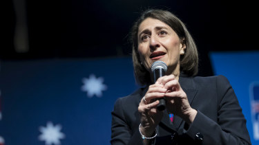 Gladys Berejiklian at a Liberal Party rally at Sydney Olympic Park on April 28.
