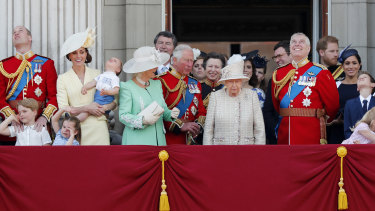 Queen Elizabeth and members of the royal family attend the annual Trooping the Colour Ceremony in London in June 2019.