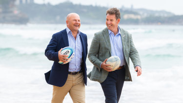 Interim Rugby Australia boss Rob Clarke (left) and New Zealand Rugby chief executive Mark Robinson at the end of 2020.