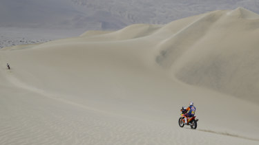 Toby Price takes on a dune in the third stage of the Dakar Rally.