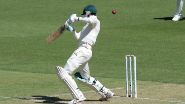 Handscomb was caught off this shot in the first innings.