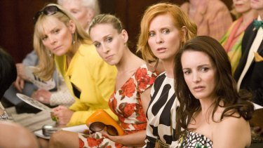 From left, Kim Cattrall as Samantha Jones, Sarah Jessica Parker as Carrie Bradshaw, Cynthia Nixon as Miranda Hobbes and Kristin Davis as Charlotte York-Goldenblatt in a scene from Sex and the City: the Movie.