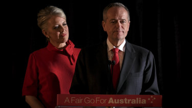 """I know that you're all hurting and I am too"": Bill Shorten, with Chloe by his side, delivers his concession speech."
