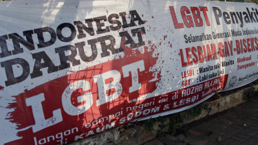Anti-LGBT banners erected by an ultra-conservative Islamic group  signal anti-gay sentiment is on the rise in Indonesia.