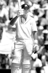 Fast track: Dean Jones brings up his century at the SCG in 1987.
