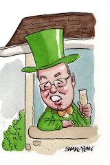Greens upper house member David Shoebridge is in a neighbourhood dispute over his gutter. Illustration: John Shakespeare