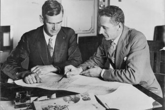 Difficult times: the designers of the Australian War Memorial John Crust and Emil Sodersten in 1928.