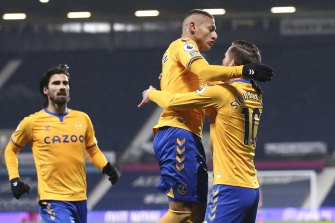 Everton's European hopes were boosted by Richarlison's (centre) goal against West Brom.
