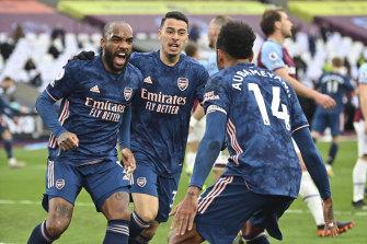 Arsenal's Alexandre Lacazette celebrates after scoring the equaliser against West Ham at the London Stadium on Sunday.