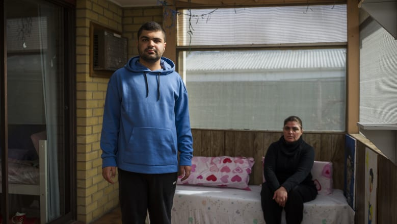 Abdul-Ghani Ferkh, who has been left at home with his mother Safaa Joumaa-Ferkh, pictured, for more than four months while the school prepares new facilities for him.