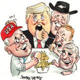 Scott Morrison and Donald Trump. Illustration: John Shakespeare