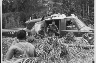 RAAF helicopters in Malaysia airlift Commonwealth and Malaysian troops in and out of the Thai/ Malaya border area where they are engaged against Communist Terrorists.