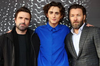 David Michod, Timothée Chalamet and Joel Edgerton at the Australian premiere of The King in Sydney on Thursday.