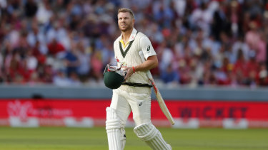 David Warner leaves the middle after being bowled by Stuart Broad.