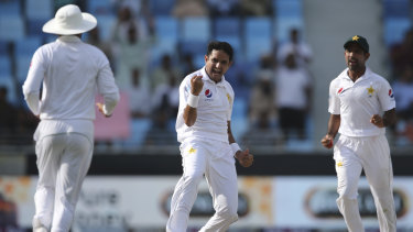 Pakistan's Mohammad Abbas (centre) celebrates after taking the wicket of Aaron Finch.