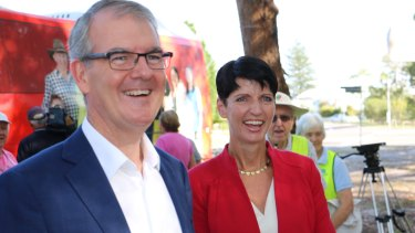 NSW Opposition leader Michael Daley and Port Stephens MP Kate Washington.