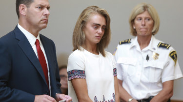Michelle Carter listens to her sentencing for involuntary manslaughter in August 2017.