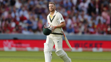 Gone: David Warner departs for three after being bowled by Stuart Broad in the second Test.