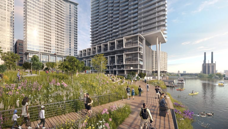 Lendlease has joined forces with superannuation fund First State Super to develop a $2 billion project in Chicago (pictured) and other US gateway cities.