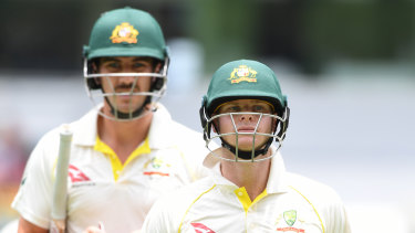 Seamless: Pat Cummins isn't expecting any issues when Steve Smith (right) and Dave Warner return to the national fold.