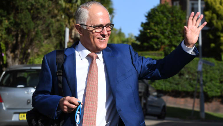 Former prime minister Malcolm Turnbull speaking to reporters in Sydney on Monday morning.
