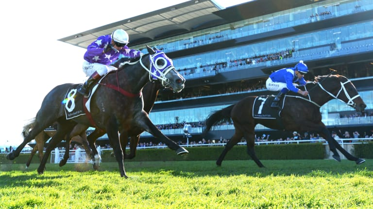Got there: Winx (right) guns down Foxplay in the final couple of strides in the 2017 Warwick Stakes.